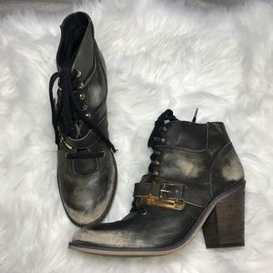 Free People Distressed Buckle Lace Ankle Booties